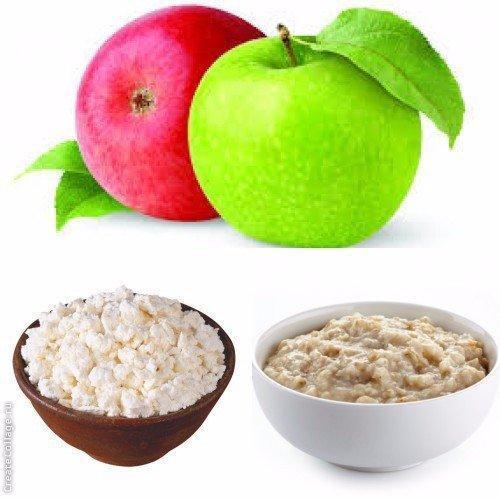 Диета трех продуктов: овсянка – творог – яблоко