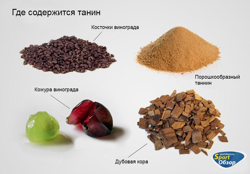 Дубильные вещества в продуктах питания